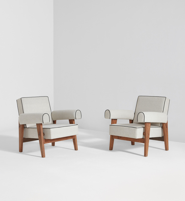 Le Corbusier, 'Pair of armchairs, model no. LC/PJ-SI-42-A, designed for the High Court and Assembly, Chandigarh', 1955-1956, Phillips
