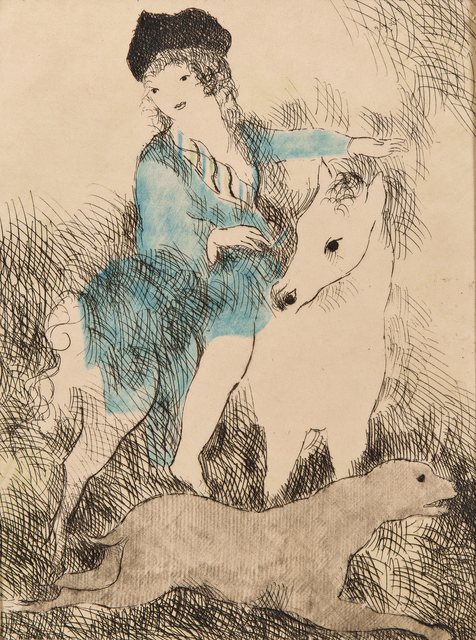 Marie Laurencin, 'La promenade á cheval', 1928, Print, Etching with roulette and hand-colorEtching on paper, Skinner