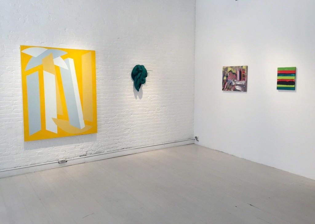 "Vanessa Jackson ""3 in one in oil"" , Elio Rodriguez ""Selva"", Diana Copperwhite"" Untitled"",  Mary Heilmann ""Sunset Serape"""