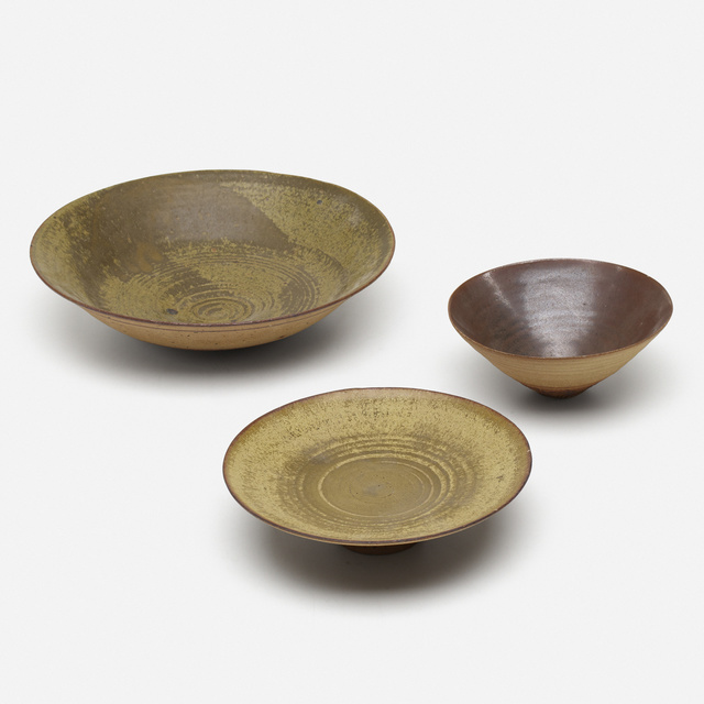 Loloma Pottery, 'bowls, collection of three', c. 1955, Rago/Wright
