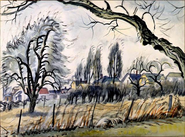 , 'Windswept Trees and Houses,' 1949, Bernard Goldberg Fine Art