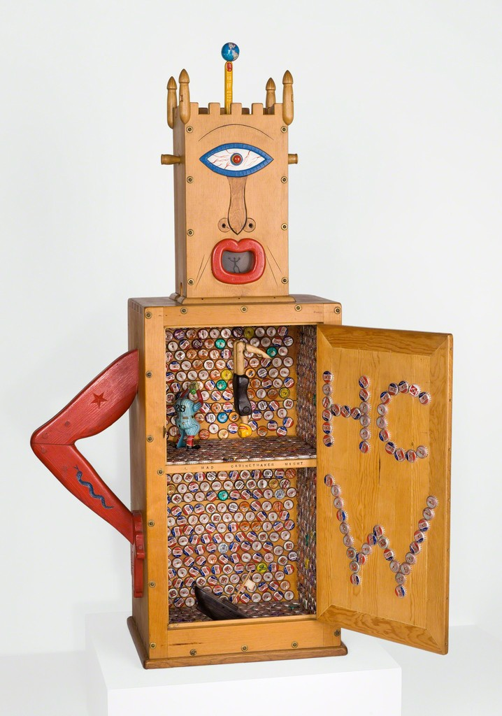 """H.C. Westermann, """"Memorial to the Idea of Man If He Was an Idea,"""" 1958, pine, bottle caps, cast-tin toys, glass, metal, brass, ebony, and enamel, 56 1/2 x 48 x 14 1/4 inches, Museum of Contemporary Art Chicago, Susan and Lewis Manilow Collection of Chicago Artists, 1993.34"""