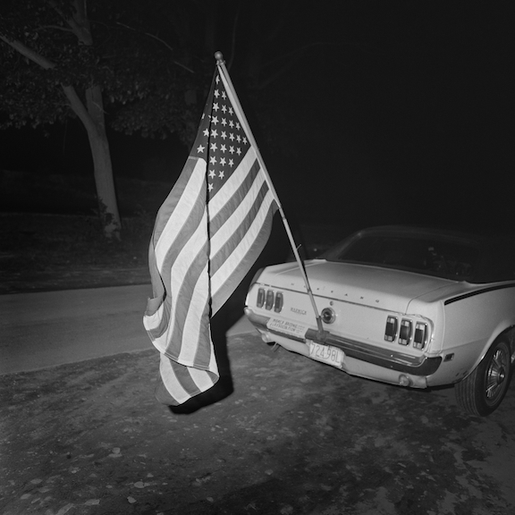 , 'Flag and Mustang, Thompson Speedway, Thompson, CT,' 1972, Scott Nichols Gallery