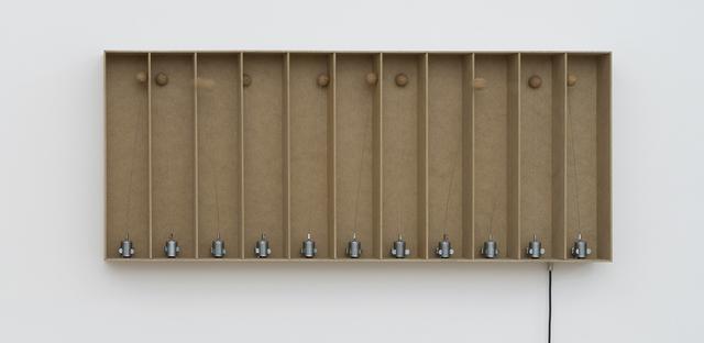 , '11 prepared dc-motors, cork balls, mdf boxes 43x9x9cm,' 2014, bitforms gallery