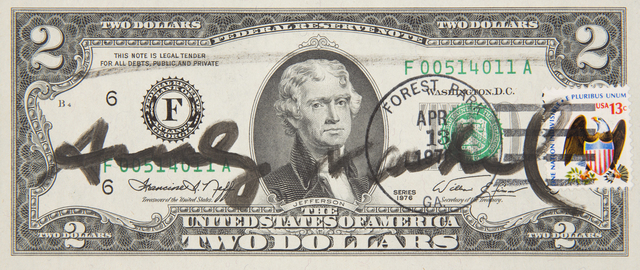 Andy Warhol, 'Two Dollars Jefferson', 1976, Mixed Media, Black marker on 1976 U.S. Two Dollar bill with postage stamp and ink cancellation stamp from Forest Park Georgia indicating it was sent through the mail, Julien's Auctions