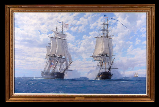 John Steven Dews, 'The Capture of US Chesapeake by HMS Shannon off Boston, 1 June 1813', 2019, Trinity House Paintings