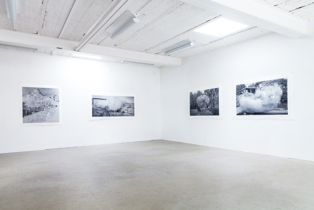 exhibition view: (from left to right) Holliday homes series,  St Moritz, 2017 – Holliday homes series, On the shore of the Pacific coast, 2017 – Holliday homes series, On the banks of the river Havel – Holliday homes series,  On the shores of the Baltic sea