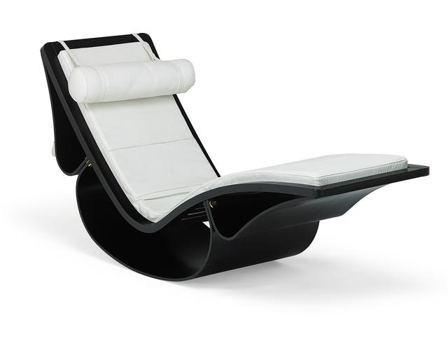 Oscar Niemeyer, 'Oscar Niemeyer For Fasem Chaise Lounge', latter half 20th c., Design/Decorative Art, Enameled wood, stitched leather, brass hardware, Rago/Wright