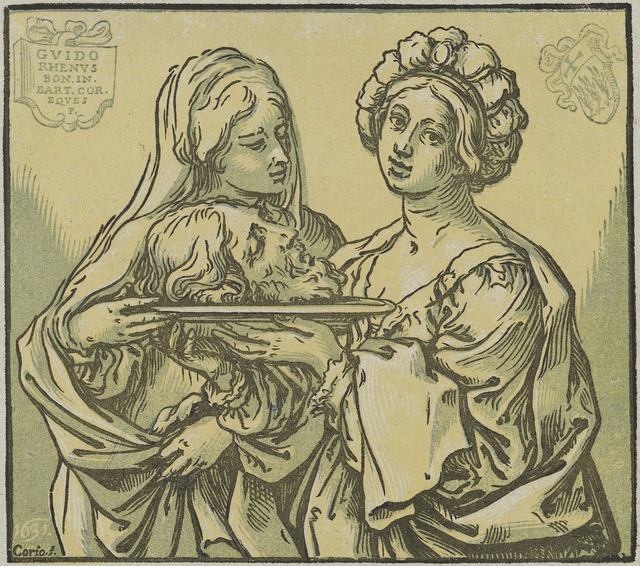 Bartolomeo Coriolano after Guido Reni, 'Herodias and Salome', 1631, Print, Chiaroscuro woodcut printed in two shades of green and black on blue laid paper, National Gallery of Art, Washington, D.C.