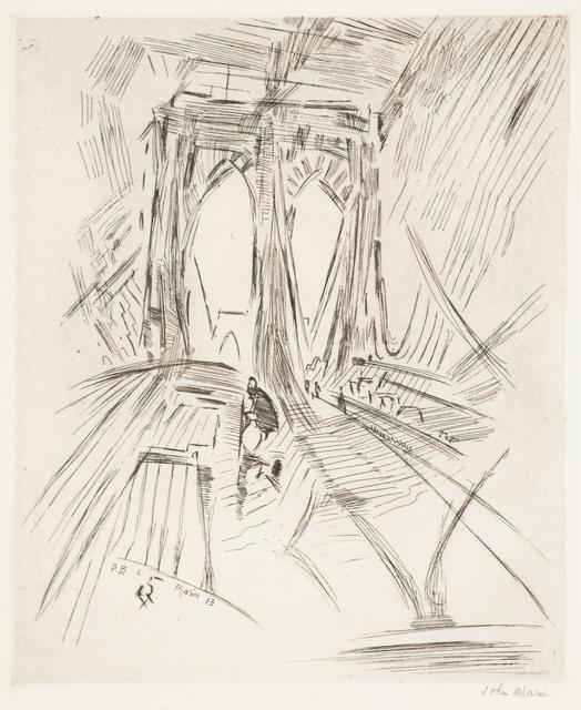 John Marin (1870-1953), 'Brooklyn Bridge No. 6 (Swaying)', 1913, Print, Etching (framed), Rago/Wright