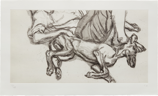 Lucian Freud, 'Pluto', 1988, Print, Etching and drypoint with hand-colouring in grey watercolour, on Somerset Satin paper, with full margins, Phillips