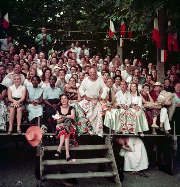 , 'Jacqueline Roque et Picasso, Jean Cocteau, Francine et Carole Weisweiller, et, assise devant, Florette, course de taureaux, Vallauris,' 1955, Opiom Gallery