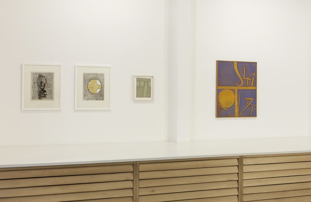 Installation view, Interim 2016 / 2017, drawings and painting by Heinz Butz