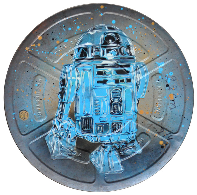 C215, 'R2D2', 2019, Painting, Stencil and spray paint on movie reel box, Mazel Galerie