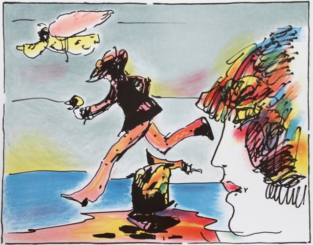 Peter Max, 'Runner and Flying Sage - Limited Edition Serigraph by Peter Max', 1982, Newport Brushstrokes Fine Art