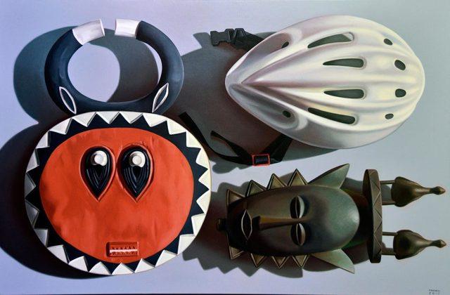 , 'Maschere africane con casco,' 2018, Galleria Punto Sull'Arte