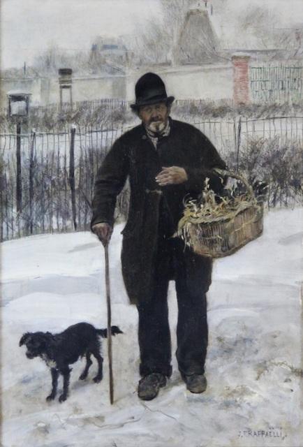 Jean François  Raffaëlli, 'Promeneur et son Chien', ca. 1881, Painting, Oil on panel, Gallery 19C