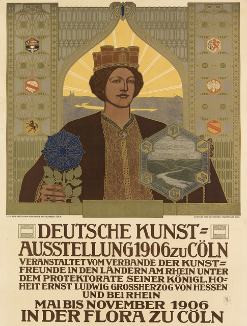 Johann Vincenz Cissarz, 'DEUTSCHE KUNST = AUSSTELLUNG ZU CÖLN', 1906, Swann Auction Galleries