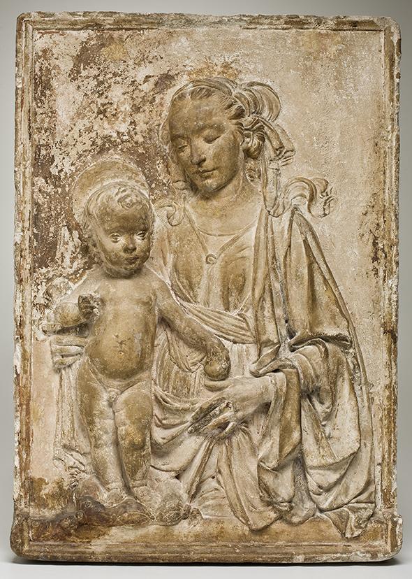 Virgin and Child  Andrea del Verrocchio  ca. 1470-75 Stucco