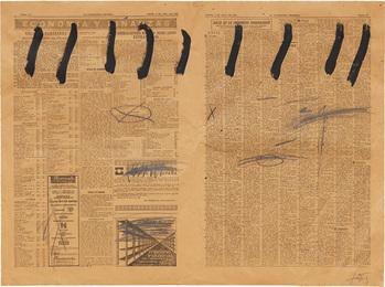 Paper de diari amb nou ratlles (Newsprint with nine strokes)
