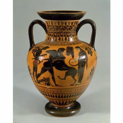 Unknown Artist, 'Amphora for oil or wine with scene of Herakles wrestling the lion', ca. 530, Newark Museum