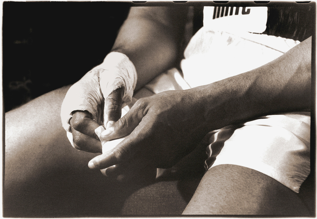 Michael Gaffney, 'Muhammad Ali's hands are taped before the Earnie Shavers fight', ca. 1977, Richard Beavers Gallery