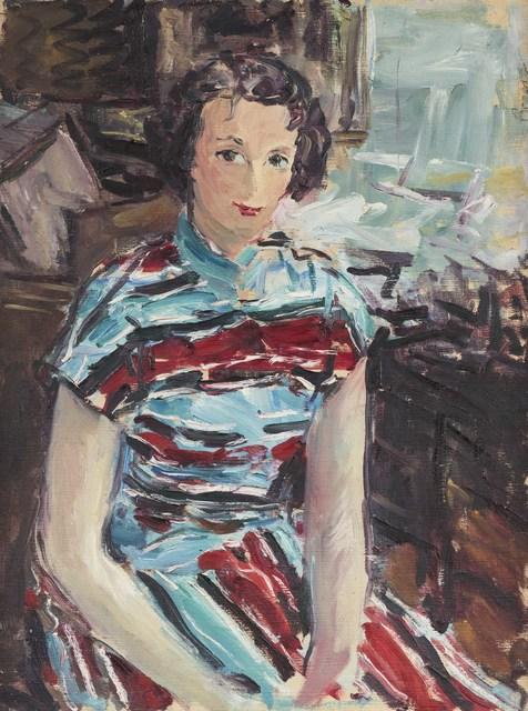 Dimitrie Berea, 'Portrait de femme à la robe rouge et bleue', Painting, Oil canvas, Leclere