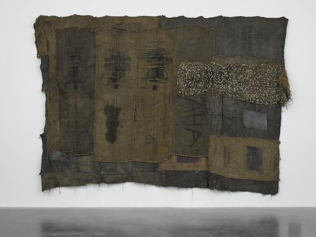 Ibrahim Mahama, 'AHA', 2017, Mixed Media, Metal tags and charcoal jute sacks on charcoal jute sacks, White Cube