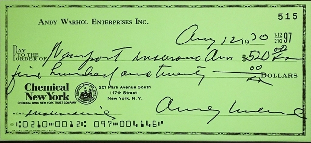 Andy Warhol, 'Andy Warhol Enterprises, Inc. Enlarged Bank Check', 1970, Posters, Offset lithograph poster. unframed, Alpha 137 Gallery Gallery Auction