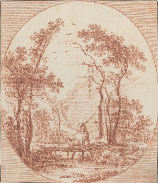 Jean-Baptiste Le Prince, 'A Farmer and a Sheep Crossing a Rustic Bridge', Drawing, Collage or other Work on Paper, Red chalk on laid paper, National Gallery of Art, Washington, D.C.
