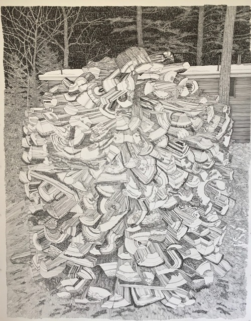 Ray Cicin, 'Beehive Woodpile', 2019, Drawing, Collage or other Work on Paper, Black ink on archival paper, Maison Depoivre