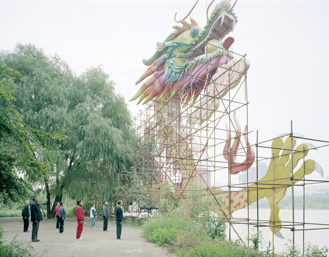, 'People Doing Morning Excercise under a Dragon Lamp, Gansu,' 2011, Beetles + Huxley