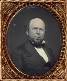 Group of two sixth-plate portrait daguerreotypes of the same subject, a bald bearded man