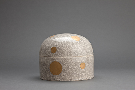 , 'Lidded jar, white crackle glaze with gold polka dot decoration,' , Pucker Gallery