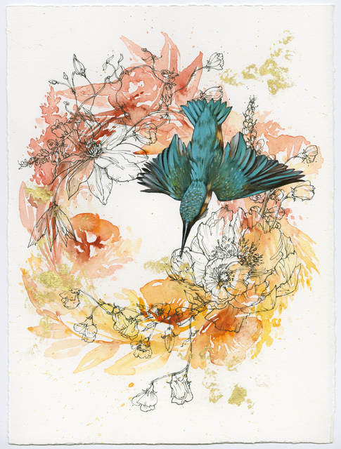 , 'Kingfisher on Orange Wreath,' 2015, BoxHeart