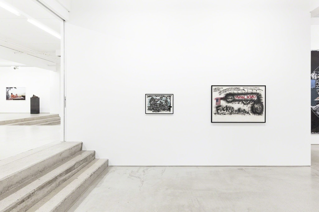 "Raymond Pettibon ""Untitled (Revised Anarchist Etiquette)"" (2001) & Judith Bernstein ""Fucked by number"" (2013), installation view of the exhibition NEW ACQUISITIONS – Hildebrand Collection, 1 February – 7 May 2017, G2 Kunsthalle Leipzig photo: Dotgain.info © the artists & G2 Kunsthalle Leipzig"