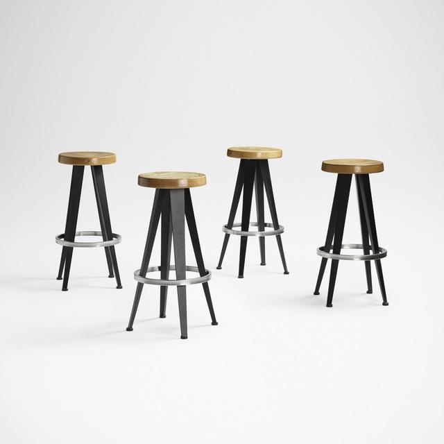 After Jean Prouve, 'stools, set of four', c. 1985, Design/Decorative Art, Enameled steel, ash, oak, chrome-plated steel, Rago/Wright
