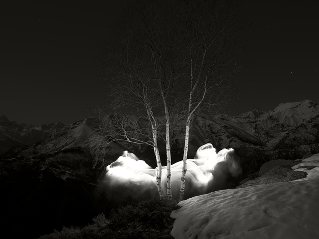 , 'Nightscapes. Three Birch Trees and Mountains,' 2016, Burning Giraffe Art Gallery