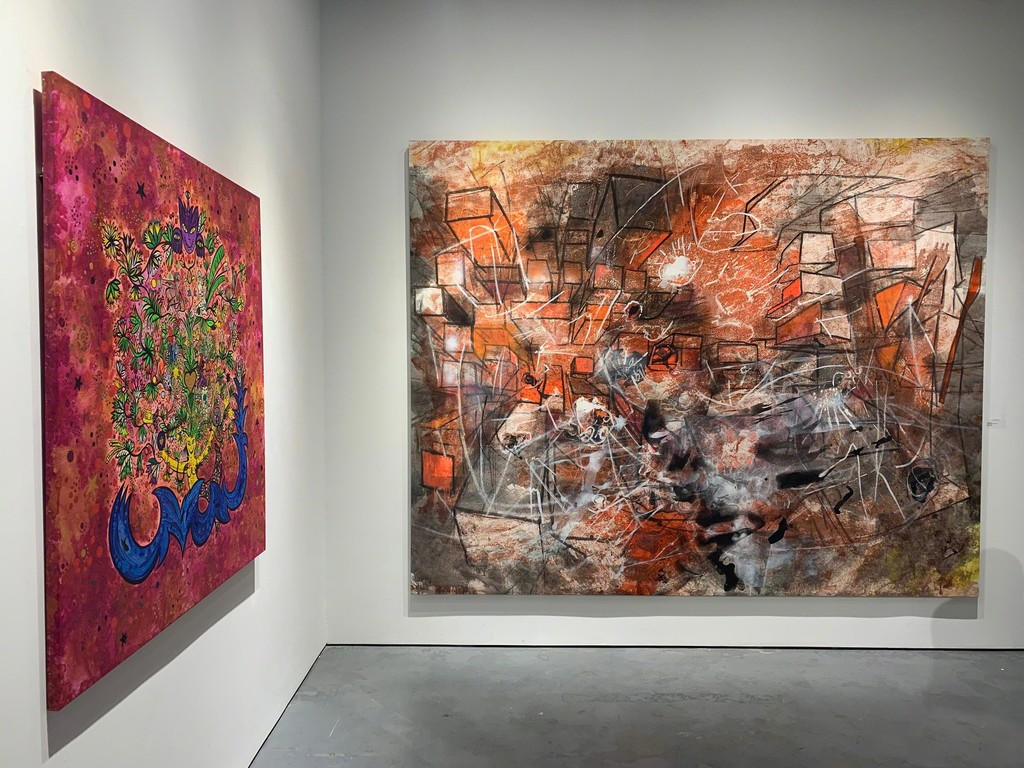 """L'Arbre des Anciens"" and ""I Saw and Shut The Silence"" in the ""Two Generations: Roberto Matta & Federica Matta"" exhibition"
