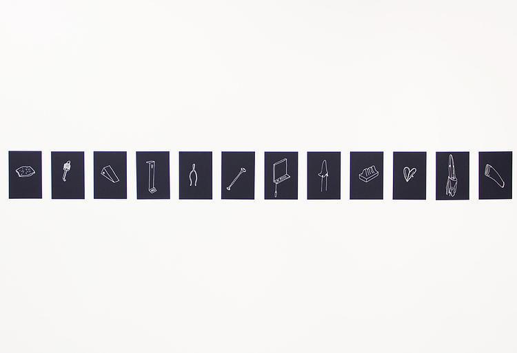 Dermot O'Brien Untitled (Winterreise) 2015 Silver ink on 43 cards 14.8 x 10.5 cm each Edition 3 + 1 AP