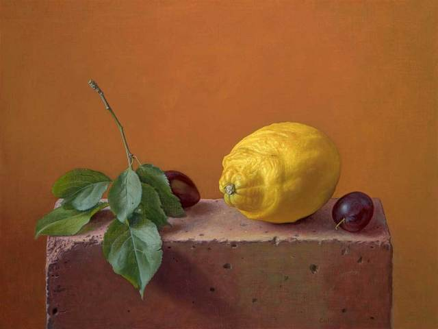 , 'Lemon and Damsons on a Brick,' , Mall Galleries