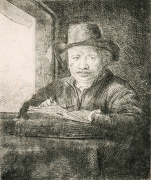 Self Portrait Drawing at a Window
