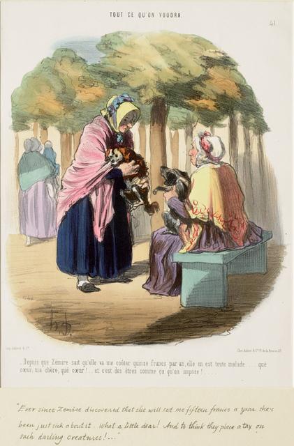 Honoré Daumier, 'Depuis que Zémire sait qu'elle va me coûter quinze francs par an,...', 1848, Clark Art Institute