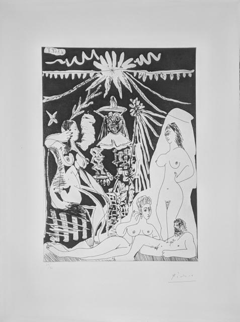 Pablo Picasso, 'HOMME ALLONGE, AVEC DEUX FEMMES, EVOQUANT LES RAPPORTS D'UN VIEUX CLOWN ET D'UNE JEUNE FILLE (BLOCH 1498)', 1968, Gallery Art
