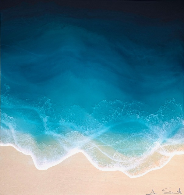 """Anna Sweet, '""""Sea Spray"""" mixed media painting of blue ocean waves from aerial view', 2019, Eisenhauer Gallery"""