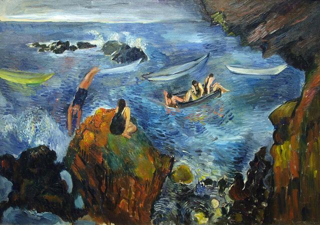 Bernard Karfiol, 'Bathers in Boats', ca. 1920, Painting, Oil on Canvas, Forum Gallery