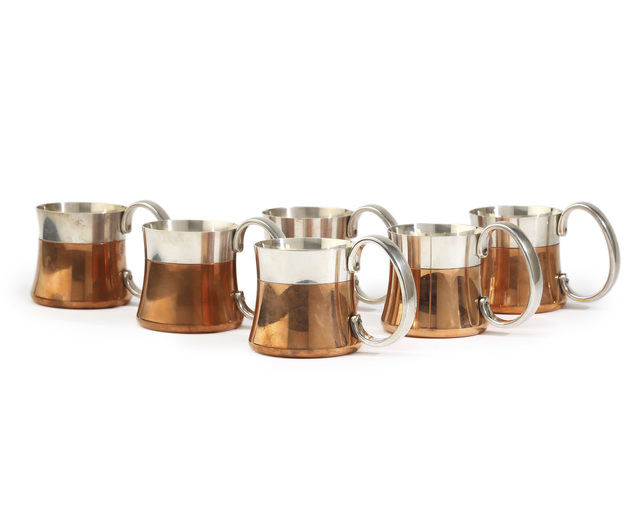 Henning Koppel, 'Six Henning Koppel for Georg Jensen mixed-metal beer mugs, No. 8090', c.1978, John Moran Auctioneers