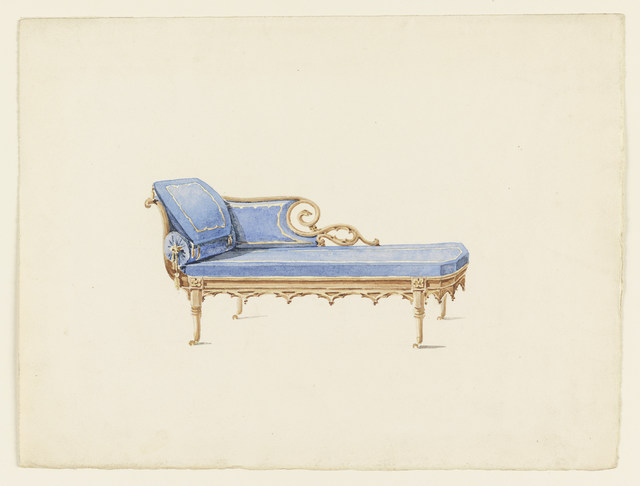 Augustus Charles Pugin, 'Design for a Sofa in the Gothic Revival Style', ca. 1830, Cooper Hewitt, Smithsonian Design Museum