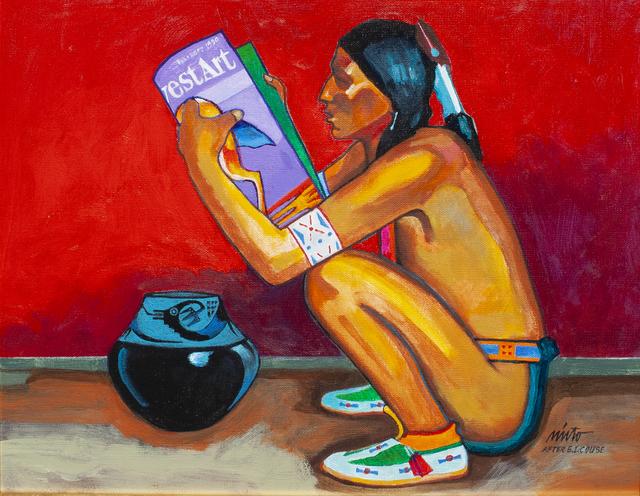 , 'Pueblo Man Reading Southwest Art Magazine,' ca. 2018, Ventana Fine Art