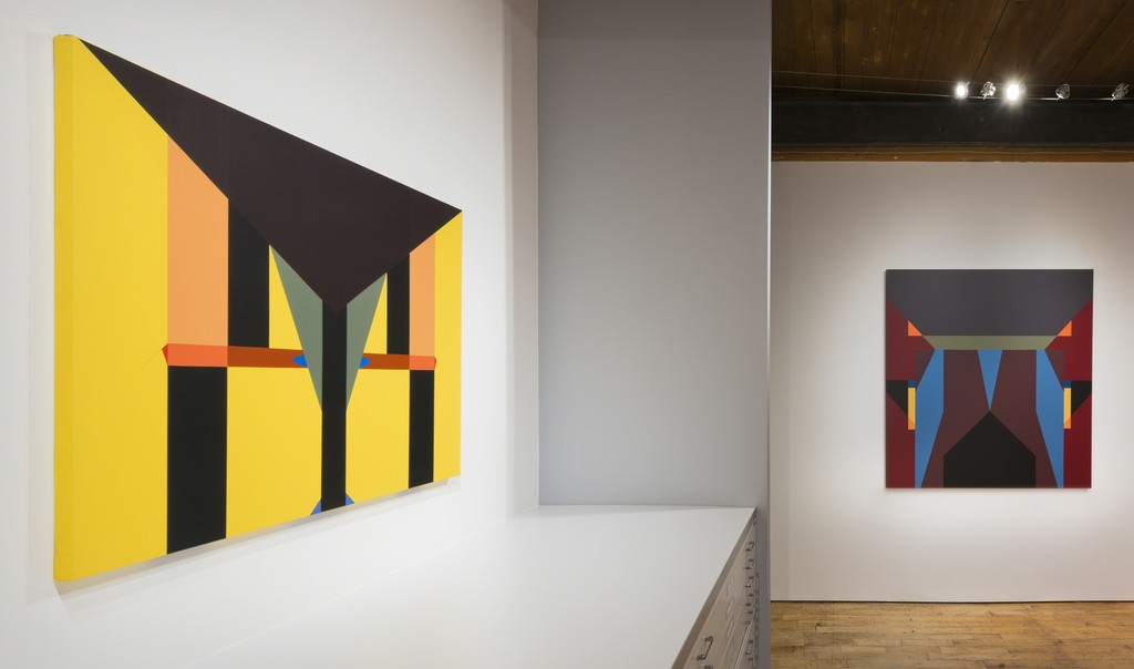 "(Left) ""Acrylic No. 2"" 2013, Acrylic on canvas, 34 x 40 inches  (Right) ""Acrylic No. 1"" 2010, Acrylic on canvas, 56 x 60 inches"